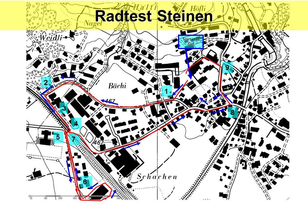 6 2 3 4 7 5 8 9 Start und Ziel Radtest Steinen 1