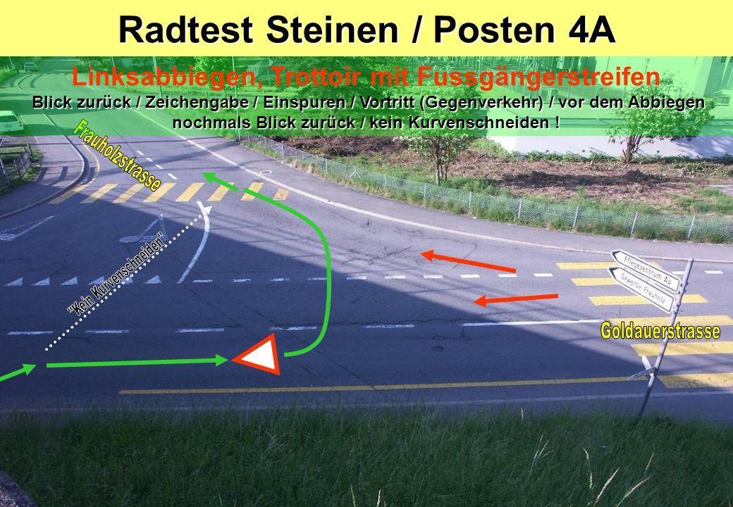 Radtest Steinen / Posten 4A Blick zurück / Zeichengabe / Einspuren / Vortritt (Gegenverkehr) / vor dem Abbiegen nochmals Blick zurück / kein Kurvenschneiden .