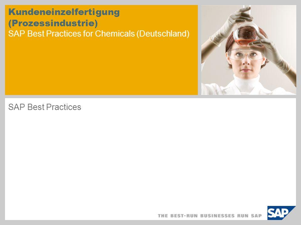 © SAP 2008 / Seite 2 Einsatzmöglichkeit Die Kundeneinzelfertigung wird eingesetzt, um bestimmte chemische Erzeugnisse zu verkaufen, welche ausschließlich nach Eingang eines Kundenauftrags abgefüllt und verpackt werden.