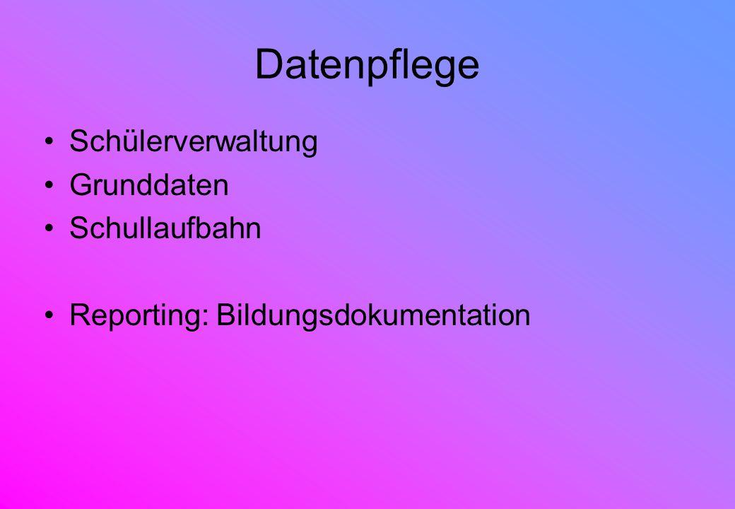 Datenpflege Schülerverwaltung Grunddaten Schullaufbahn Reporting: Bildungsdokumentation
