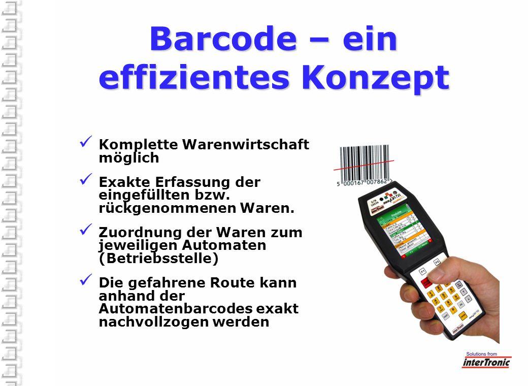 Barcode – ein effizientes Konzept Komplette Warenwirtschaft möglich Exakte Erfassung der eingefüllten bzw. rückgenommenen Waren. Zuordnung der Waren z