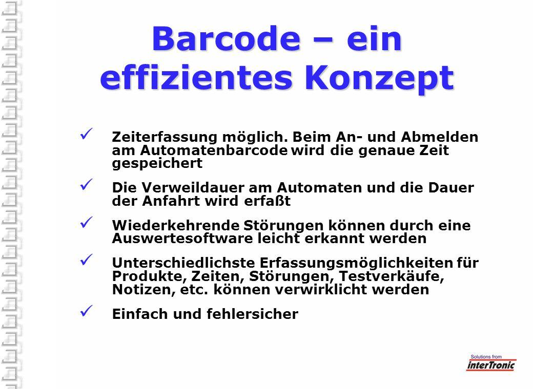 Barcode – ein effizientes Konzept Zeiterfassung möglich. Beim An- und Abmelden am Automatenbarcode wird die genaue Zeit gespeichert Die Verweildauer a