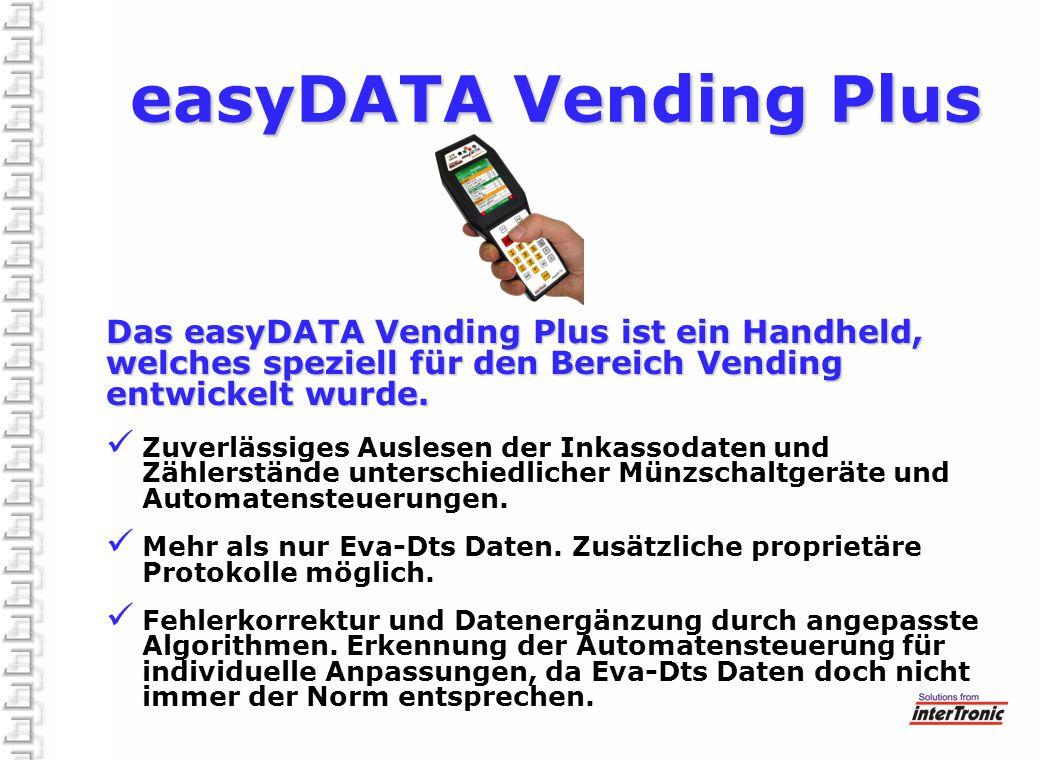 Das easyDATA Vending Plus ist ein Handheld, welches speziell für den Bereich Vending entwickelt wurde. Zuverlässiges Auslesen der Inkassodaten und Zäh