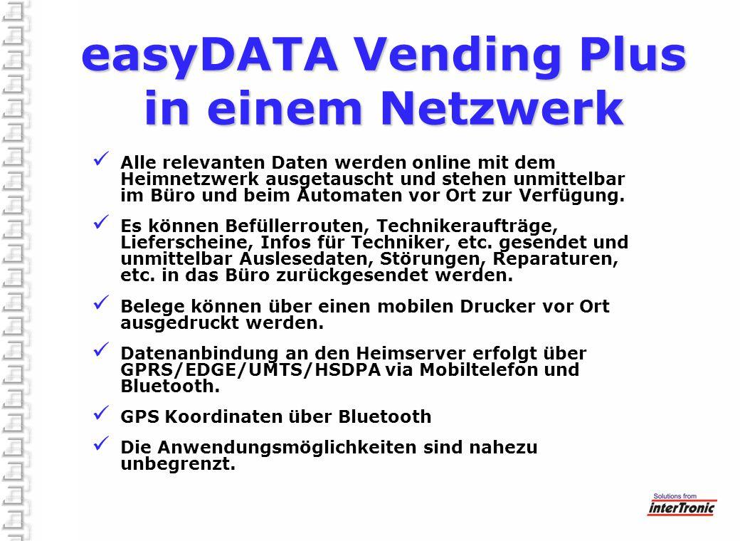 Alle relevanten Daten werden online mit dem Heimnetzwerk ausgetauscht und stehen unmittelbar im Büro und beim Automaten vor Ort zur Verfügung. Es könn