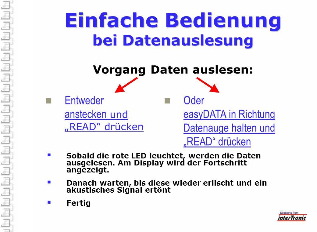 """Einfache Bedienung bei Datenauslesung Einfache Bedienung bei Datenauslesung Vorgang Daten auslesen: Entweder anstecken und """"READ"""" drücken Oder easyDAT"""