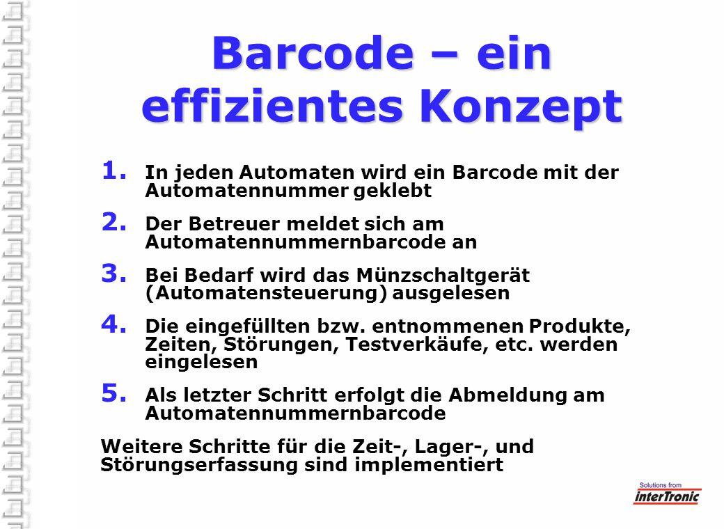 Barcode – ein effizientes Konzept 1. In jeden Automaten wird ein Barcode mit der Automatennummer geklebt 2. Der Betreuer meldet sich am Automatennumme