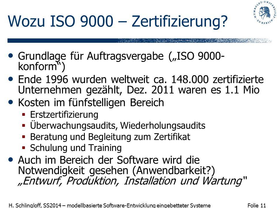 Folie 11 H. Schlingloff, SS2014 – modellbasierte Software-Entwicklung eingebetteter Systeme Wozu ISO 9000 – Zertifizierung? Grundlage für Auftragsverg