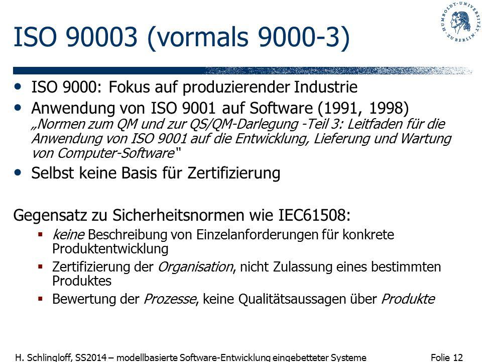 Folie 12 H. Schlingloff, SS2014 – modellbasierte Software-Entwicklung eingebetteter Systeme ISO 90003 (vormals 9000-3) ISO 9000: Fokus auf produzieren