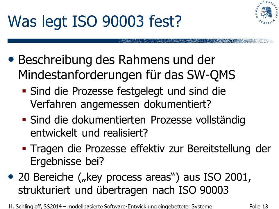 Folie 13 H. Schlingloff, SS2014 – modellbasierte Software-Entwicklung eingebetteter Systeme Was legt ISO 90003 fest? Beschreibung des Rahmens und der