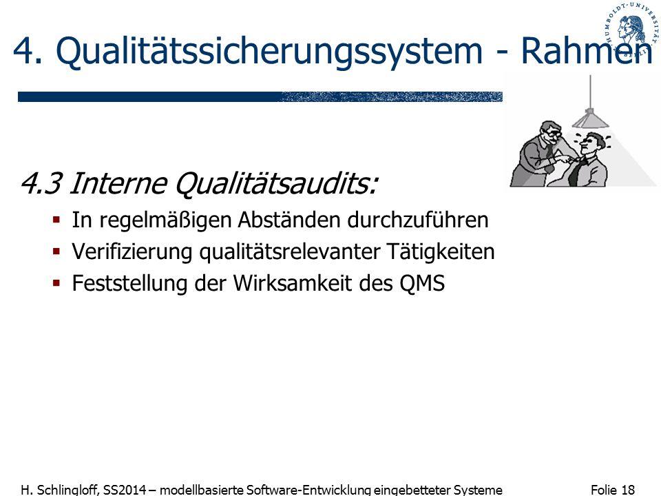 Folie 18 H. Schlingloff, SS2014 – modellbasierte Software-Entwicklung eingebetteter Systeme 4. Qualitätssicherungssystem - Rahmen 4.3 Interne Qualität