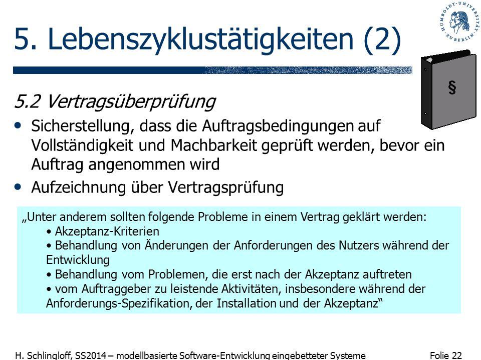 Folie 22 H. Schlingloff, SS2014 – modellbasierte Software-Entwicklung eingebetteter Systeme 5. Lebenszyklustätigkeiten (2) 5.2 Vertragsüberprüfung Sic