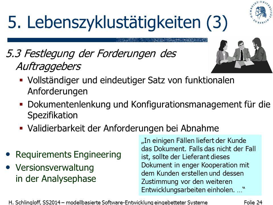 Folie 24 H. Schlingloff, SS2014 – modellbasierte Software-Entwicklung eingebetteter Systeme 5. Lebenszyklustätigkeiten (3) 5.3 Festlegung der Forderun
