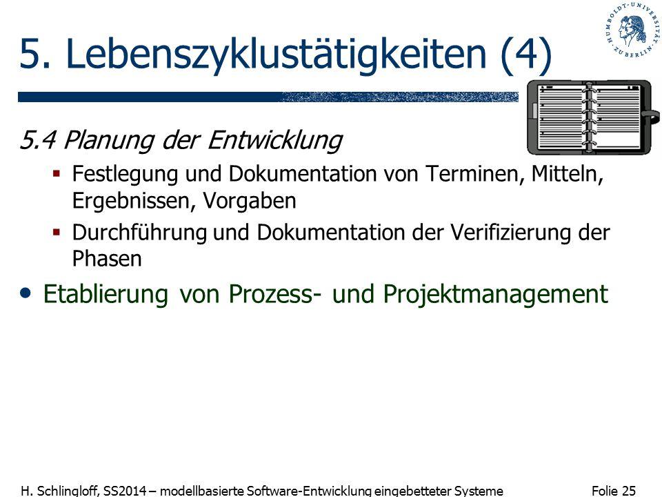 Folie 25 H. Schlingloff, SS2014 – modellbasierte Software-Entwicklung eingebetteter Systeme 5. Lebenszyklustätigkeiten (4) 5.4 Planung der Entwicklung
