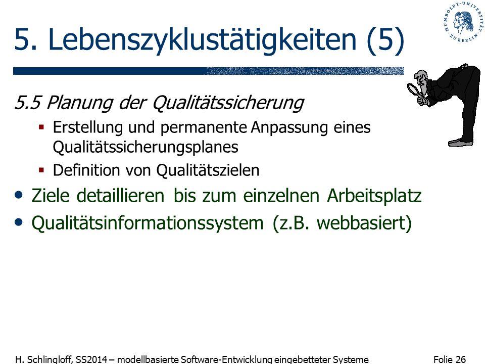 Folie 26 H. Schlingloff, SS2014 – modellbasierte Software-Entwicklung eingebetteter Systeme 5. Lebenszyklustätigkeiten (5) 5.5 Planung der Qualitätssi