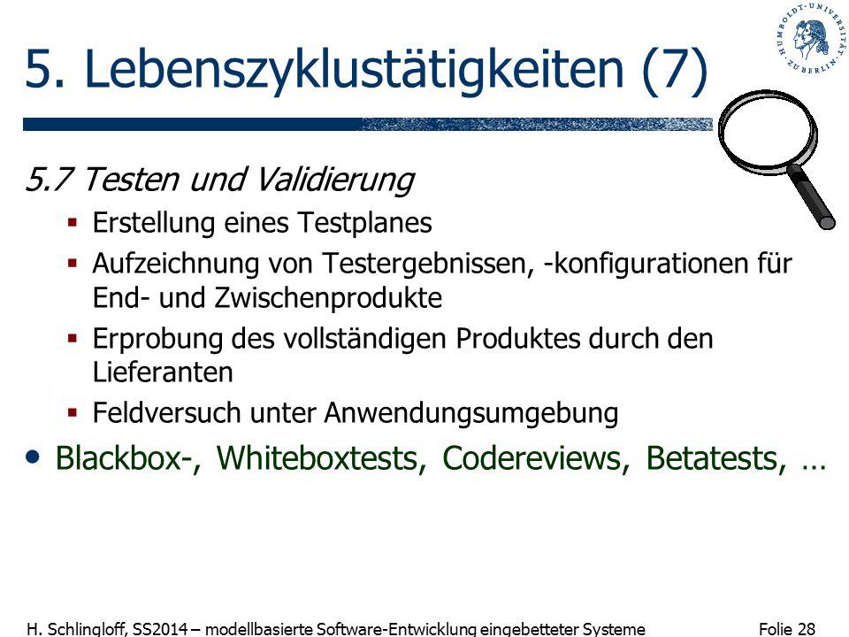 Folie 28 H. Schlingloff, SS2014 – modellbasierte Software-Entwicklung eingebetteter Systeme 5. Lebenszyklustätigkeiten (7) 5.7 Testen und Validierung