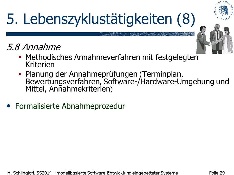 Folie 29 H. Schlingloff, SS2014 – modellbasierte Software-Entwicklung eingebetteter Systeme 5. Lebenszyklustätigkeiten (8) 5.8 Annahme  Methodisches