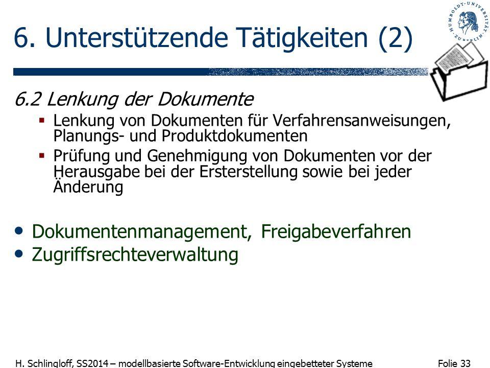 Folie 33 H. Schlingloff, SS2014 – modellbasierte Software-Entwicklung eingebetteter Systeme 6. Unterstützende Tätigkeiten (2) 6.2 Lenkung der Dokument