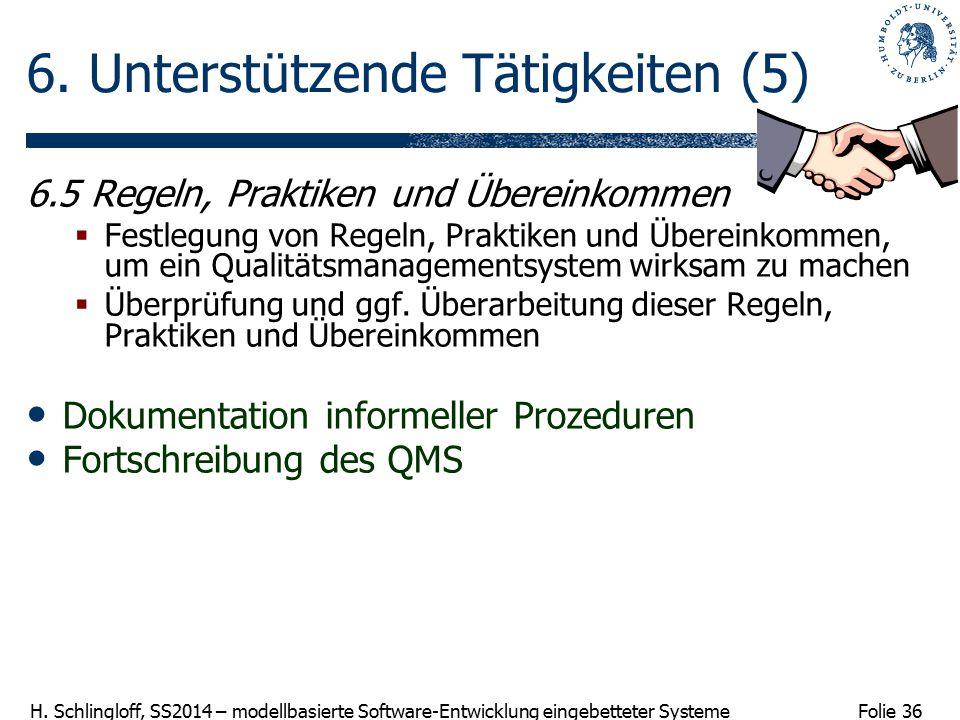 Folie 36 H. Schlingloff, SS2014 – modellbasierte Software-Entwicklung eingebetteter Systeme 6. Unterstützende Tätigkeiten (5) 6.5 Regeln, Praktiken un