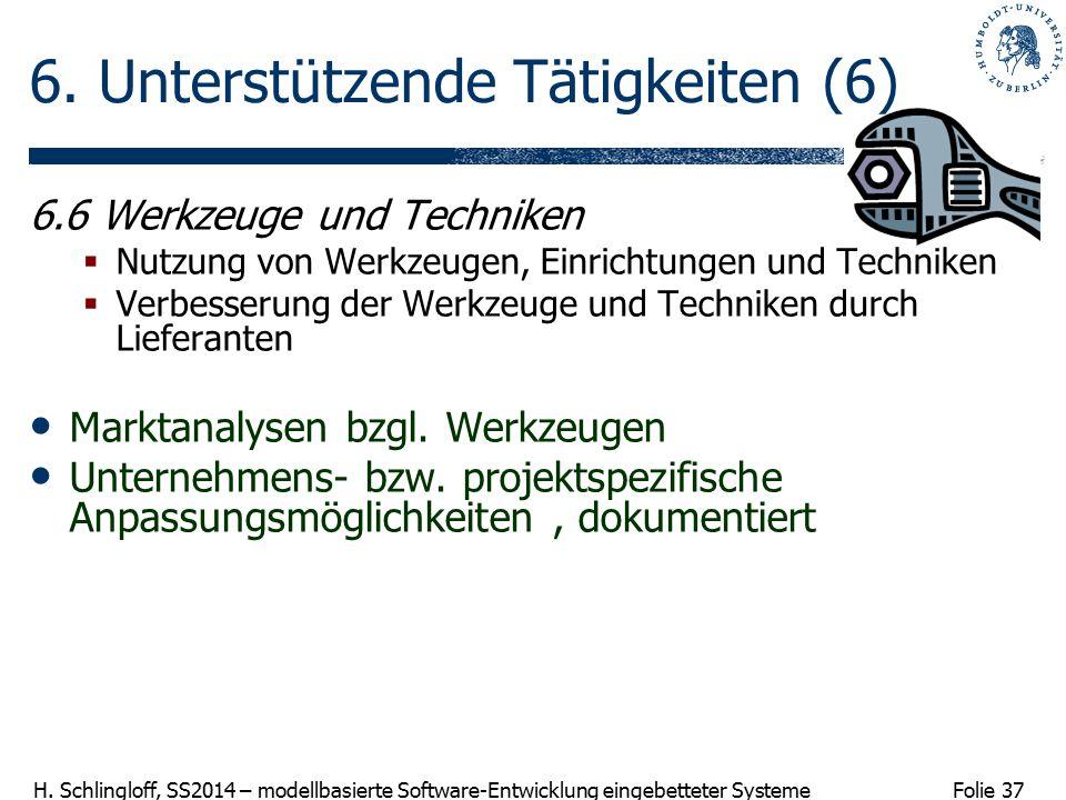 Folie 37 H. Schlingloff, SS2014 – modellbasierte Software-Entwicklung eingebetteter Systeme 6. Unterstützende Tätigkeiten (6) 6.6 Werkzeuge und Techni