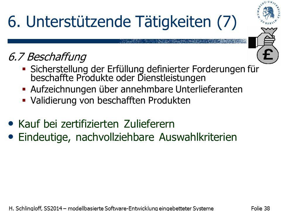 Folie 38 H. Schlingloff, SS2014 – modellbasierte Software-Entwicklung eingebetteter Systeme 6. Unterstützende Tätigkeiten (7) 6.7 Beschaffung  Sicher
