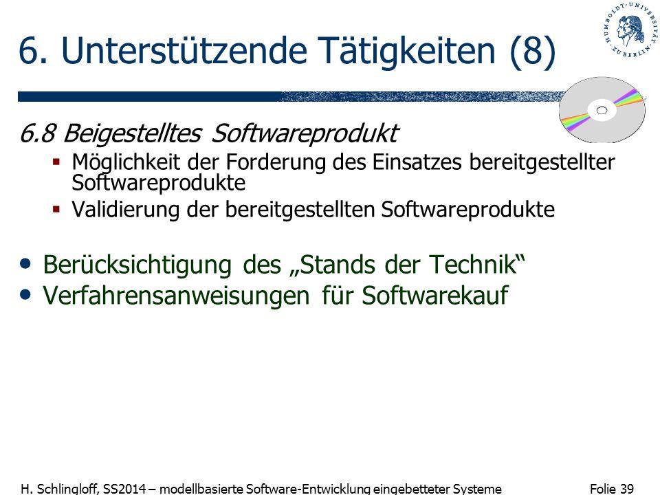 Folie 39 H. Schlingloff, SS2014 – modellbasierte Software-Entwicklung eingebetteter Systeme 6. Unterstützende Tätigkeiten (8) 6.8 Beigestelltes Softwa