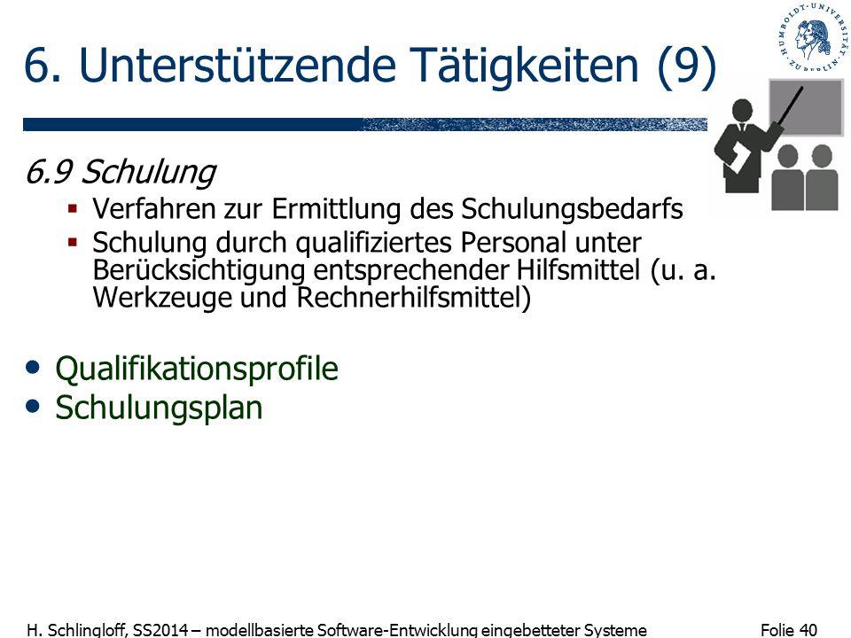 Folie 40 H. Schlingloff, SS2014 – modellbasierte Software-Entwicklung eingebetteter Systeme 6. Unterstützende Tätigkeiten (9) 6.9 Schulung  Verfahren