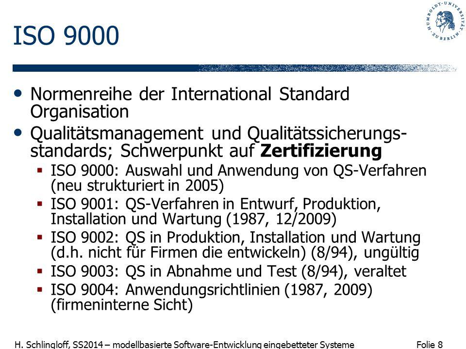 Folie 8 H. Schlingloff, SS2014 – modellbasierte Software-Entwicklung eingebetteter Systeme ISO 9000 Normenreihe der International Standard Organisatio