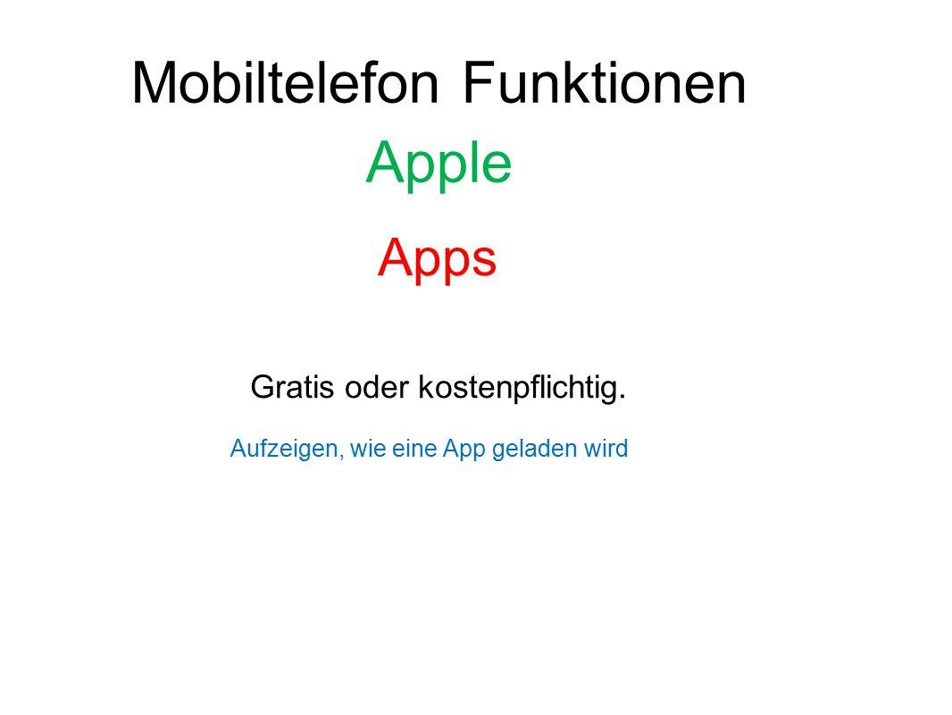 Mobiltelefon Funktionen Apple Apps Gratis oder kostenpflichtig. Aufzeigen, wie eine App geladen wird