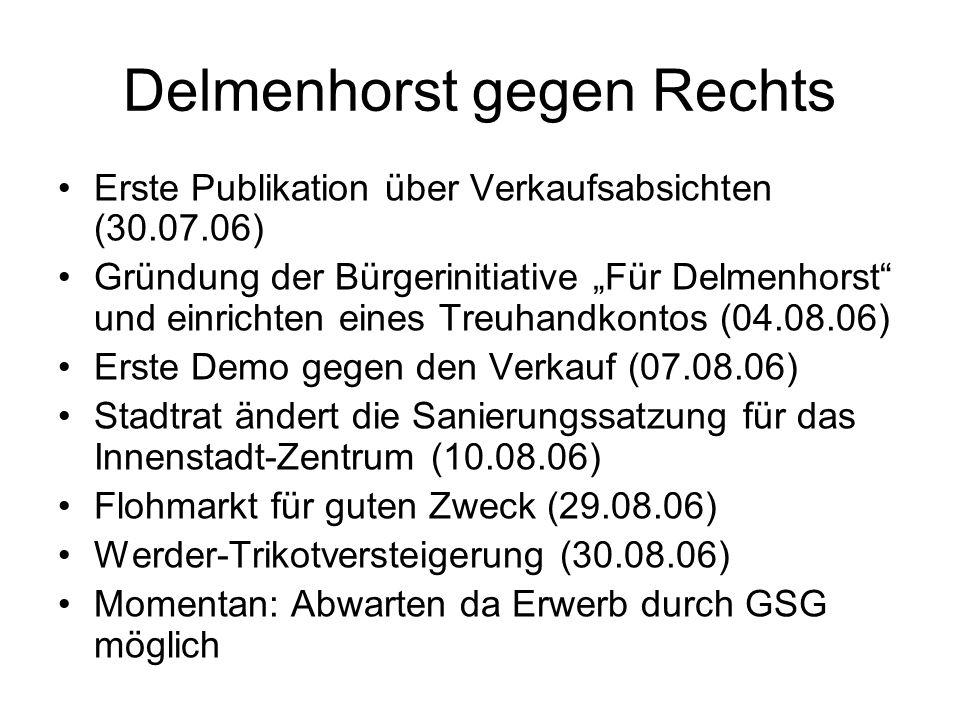 """Delmenhorst gegen Rechts Erste Publikation über Verkaufsabsichten (30.07.06) Gründung der Bürgerinitiative """"Für Delmenhorst"""" und einrichten eines Treu"""