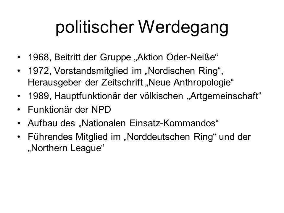 """politischer Werdegang 1968, Beitritt der Gruppe """"Aktion Oder-Neiße"""" 1972, Vorstandsmitglied im """"Nordischen Ring"""", Herausgeber der Zeitschrift """"Neue An"""