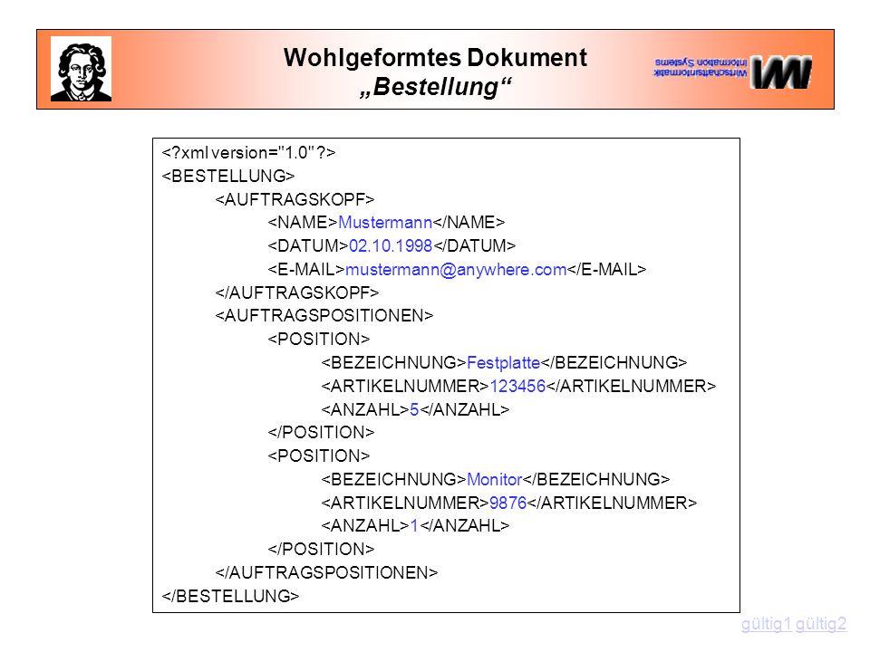 """Wohlgeformtes Dokument """"Bestellung Mustermann 02.10.1998 mustermann@anywhere.com Festplatte 123456 5 Monitor 9876 1 gültig1gültig1 gültig2gültig2"""