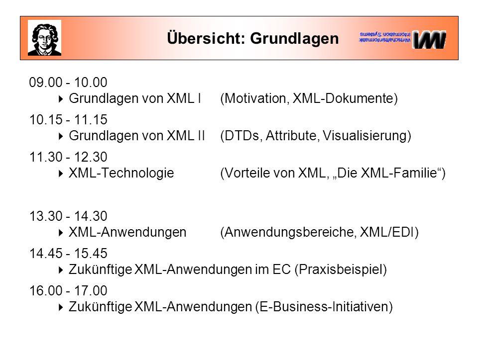 """Übersicht: Grundlagen 09.00 - 10.00  Grundlagen von XML I (Motivation, XML-Dokumente) 10.15 - 11.15  Grundlagen von XML II (DTDs, Attribute, Visualisierung) 11.30 - 12.30  XML-Technologie (Vorteile von XML, """"Die XML-Familie ) 13.30 - 14.30  XML-Anwendungen(Anwendungsbereiche, XML/EDI) 14.45 - 15.45  Zukünftige XML-Anwendungen im EC (Praxisbeispiel) 16.00 - 17.00  Zukünftige XML-Anwendungen (E-Business-Initiativen)"""