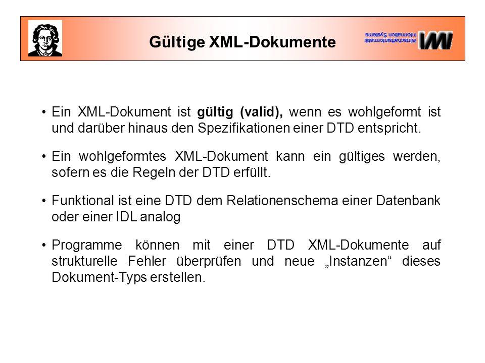 Gültige XML-Dokumente Ein XML-Dokument ist gültig (valid), wenn es wohlgeformt ist und darüber hinaus den Spezifikationen einer DTD entspricht.
