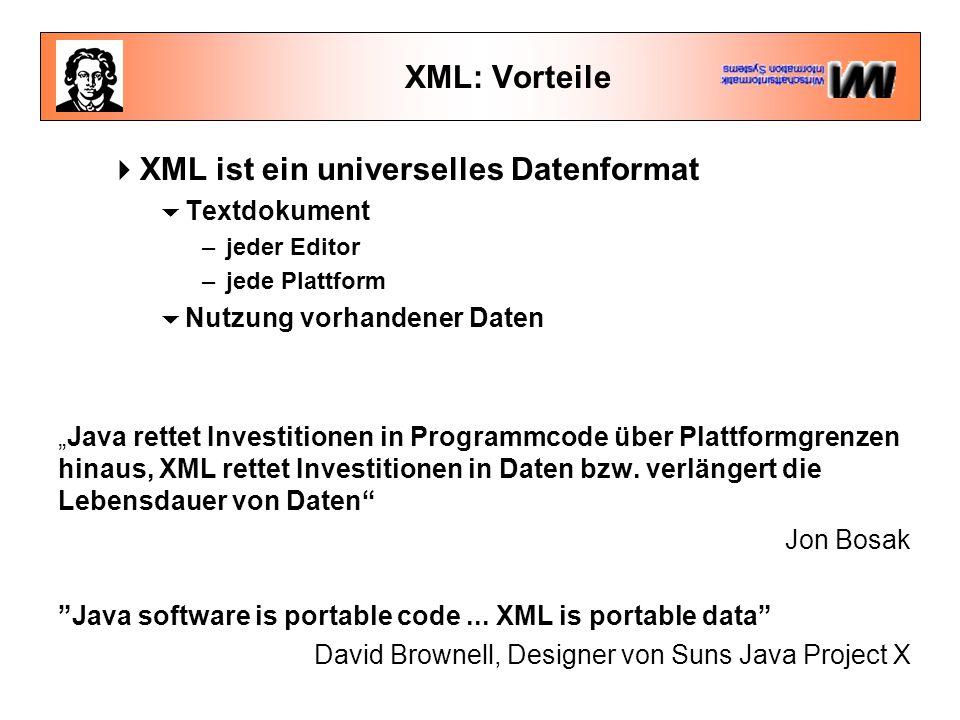 """XML: Vorteile  XML ist ein universelles Datenformat  Textdokument –jeder Editor –jede Plattform  Nutzung vorhandener Daten """"Java rettet Investitionen in Programmcode über Plattformgrenzen hinaus, XML rettet Investitionen in Daten bzw."""