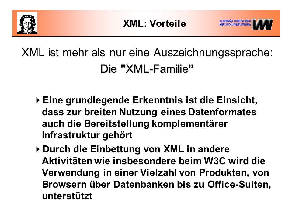 XML: Vorteile XML ist mehr als nur eine Auszeichnungssprache: Die XML-Familie  Eine grundlegende Erkenntnis ist die Einsicht, dass zur breiten Nutzung eines Datenformates auch die Bereitstellung komplementärer Infrastruktur gehört  Durch die Einbettung von XML in andere Aktivitäten wie insbesondere beim W3C wird die Verwendung in einer Vielzahl von Produkten, von Browsern über Datenbanken bis zu Office-Suiten, unterstützt