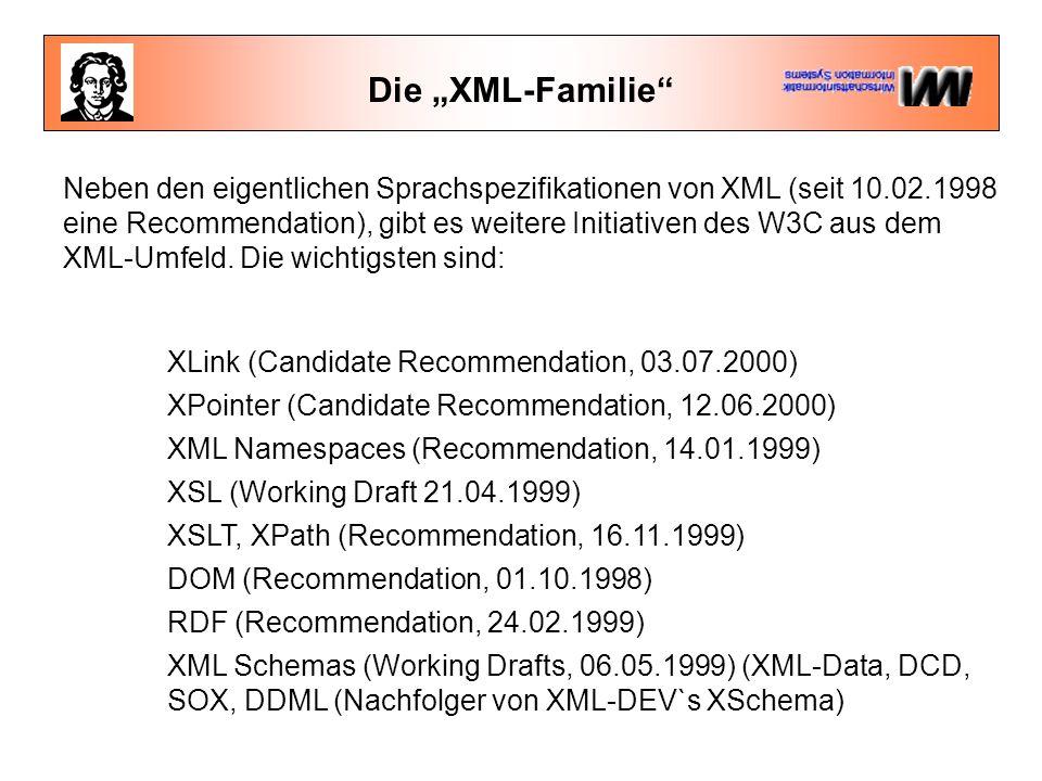 """Die """"XML-Familie Neben den eigentlichen Sprachspezifikationen von XML (seit 10.02.1998 eine Recommendation), gibt es weitere Initiativen des W3C aus dem XML-Umfeld."""