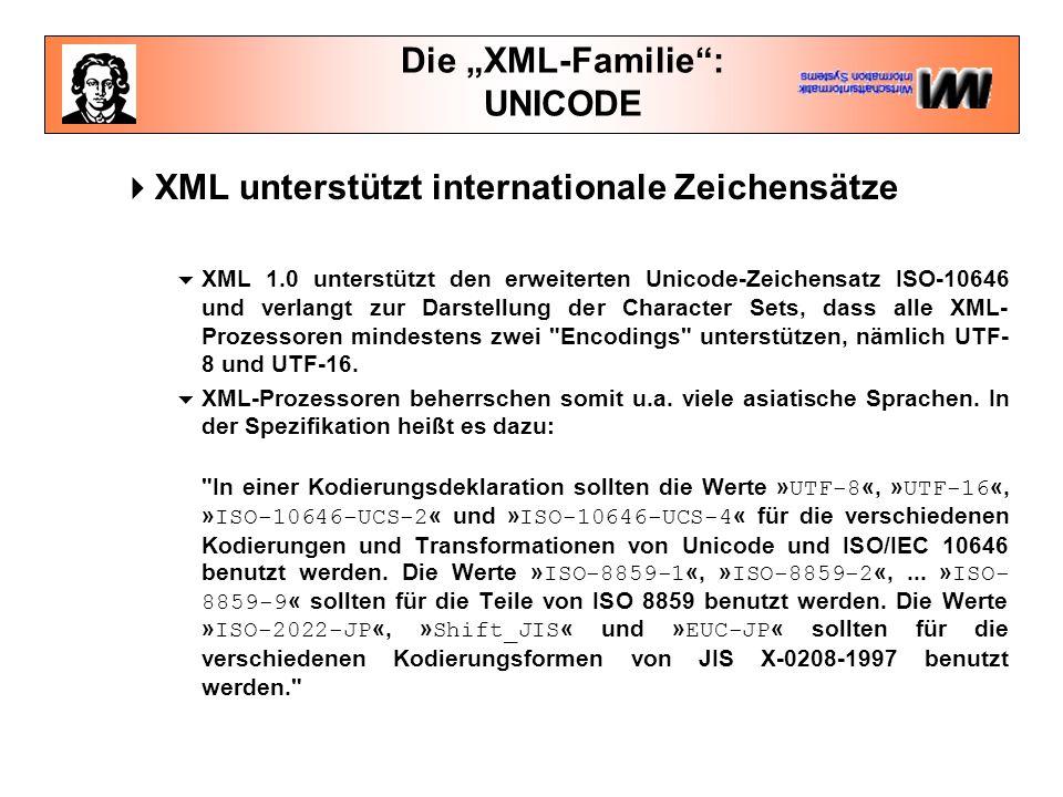 """Die """"XML-Familie : UNICODE  XML unterstützt internationale Zeichensätze  XML 1.0 unterstützt den erweiterten Unicode-Zeichensatz ISO-10646 und verlangt zur Darstellung der Character Sets, dass alle XML- Prozessoren mindestens zwei Encodings unterstützen, nämlich UTF- 8 und UTF-16."""