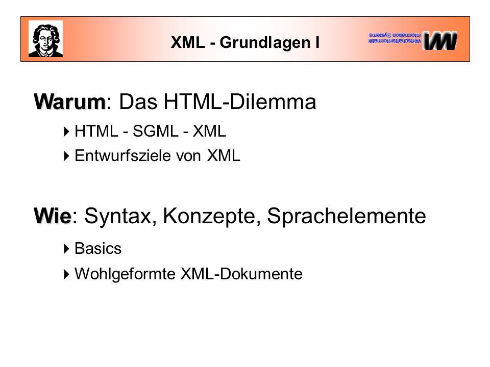 XML - Grundlagen I Warum Warum: Das HTML-Dilemma  HTML - SGML - XML  Entwurfsziele von XML Wie Wie: Syntax, Konzepte, Sprachelemente  Basics  Wohlgeformte XML-Dokumente