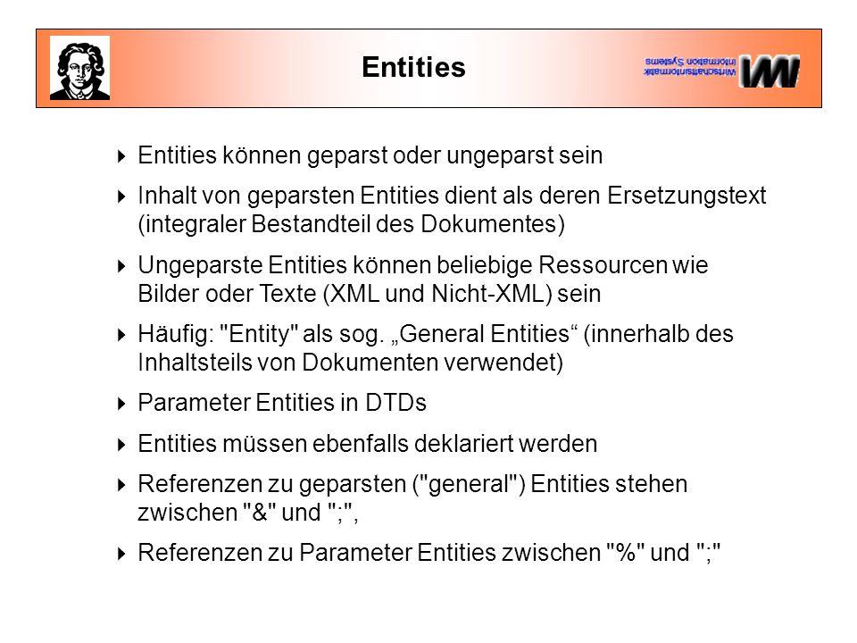 Entities  Entities können geparst oder ungeparst sein  Inhalt von geparsten Entities dient als deren Ersetzungstext (integraler Bestandteil des Dokumentes)  Ungeparste Entities können beliebige Ressourcen wie Bilder oder Texte (XML und Nicht-XML) sein  Häufig: Entity als sog.