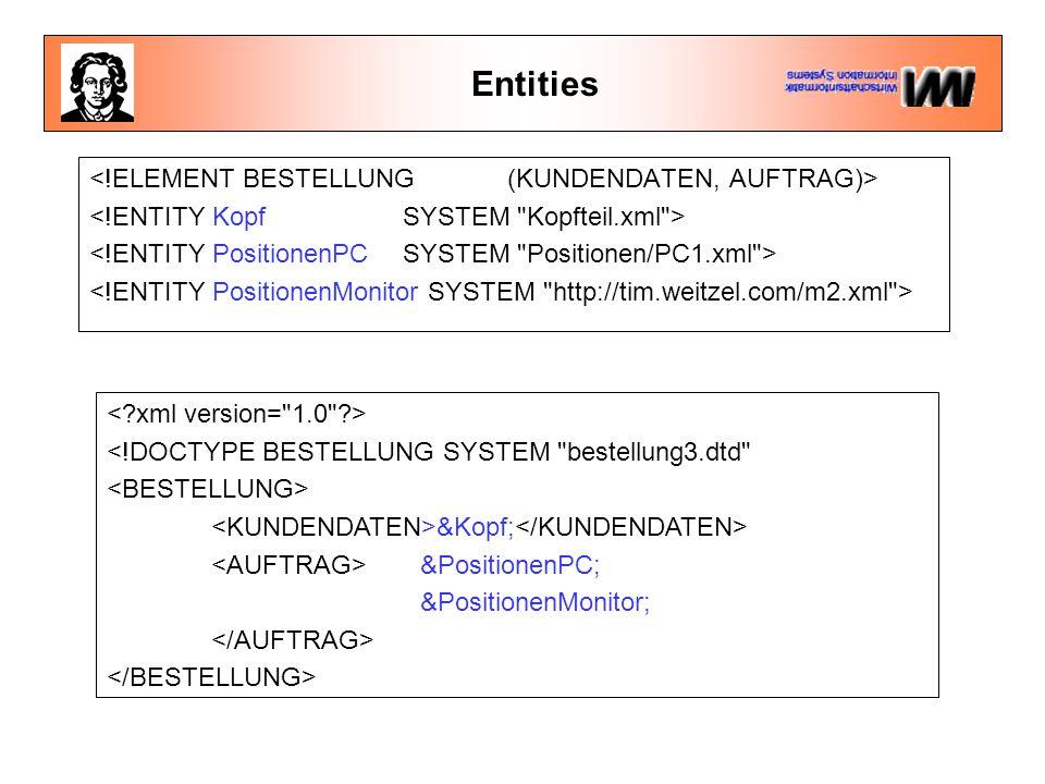 Entities <!DOCTYPE BESTELLUNG SYSTEM bestellung3.dtd &Kopf; &PositionenPC; &PositionenMonitor;