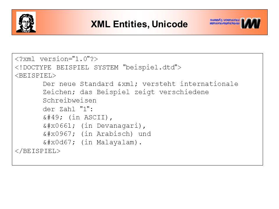 XML Entities, Unicode Der neue Standard &xml; versteht internationale Zeichen; das Beispiel zeigt verschiedene Schreibweisen der Zahl 1 : 1 (in ASCII), ١ (in Devanagari), १ (in Arabisch) und ൧ (in Malayalam).