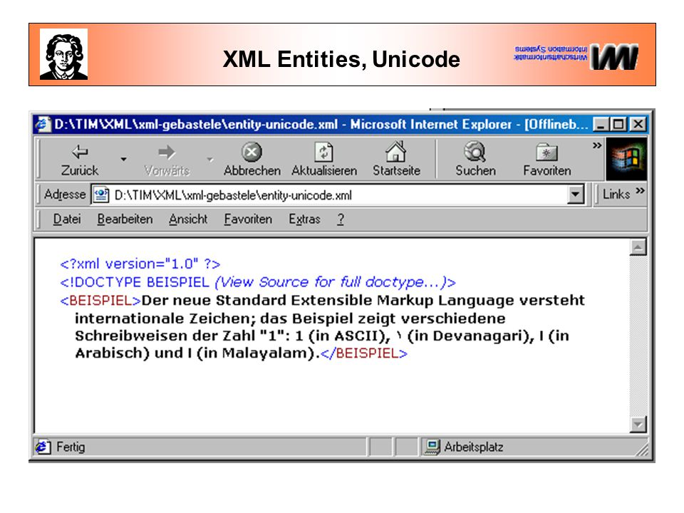 XML Entities, Unicode