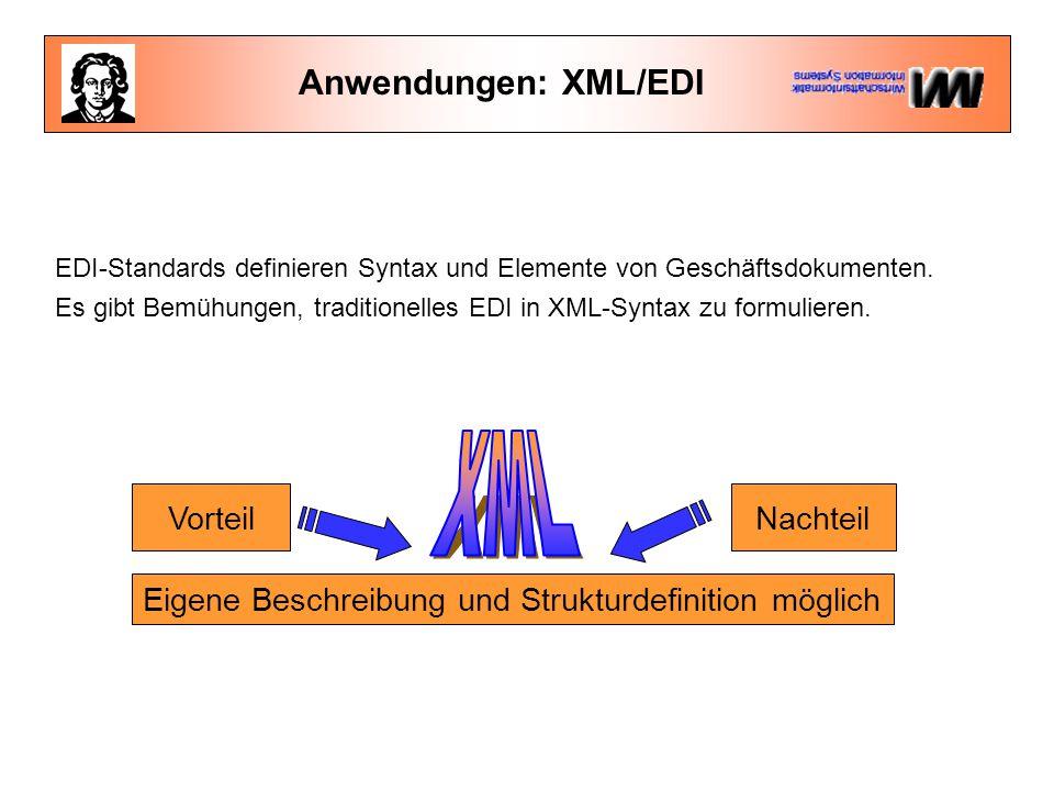 Anwendungen: XML/EDI VorteilNachteil Eigene Beschreibung und Strukturdefinition möglich EDI-Standards definieren Syntax und Elemente von Geschäftsdokumenten.