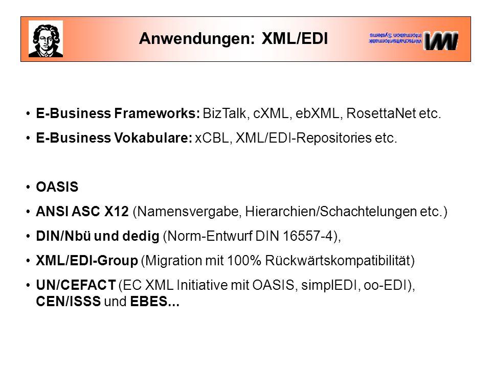 Anwendungen: XML/EDI E-Business Frameworks: BizTalk, cXML, ebXML, RosettaNet etc.