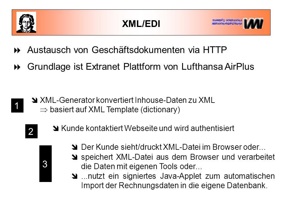  Austausch von Geschäftsdokumenten via HTTP  Grundlage ist Extranet Plattform von Lufthansa AirPlus  Kunde kontaktiert Webseite und wird authentisiert  Der Kunde sieht/druckt XML-Datei im Browser oder...