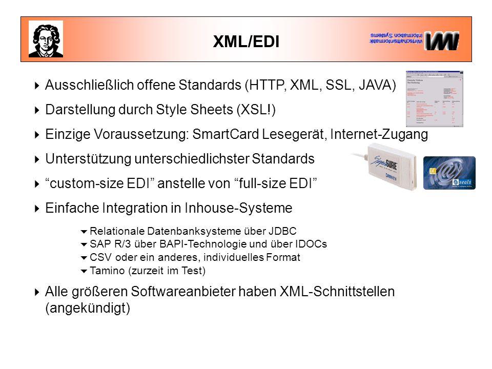 XML/EDI  Ausschließlich offene Standards (HTTP, XML, SSL, JAVA)  Darstellung durch Style Sheets (XSL!)  Einzige Voraussetzung: SmartCard Lesegerät, Internet-Zugang  Unterstützung unterschiedlichster Standards  custom-size EDI anstelle von full-size EDI  Einfache Integration in Inhouse-Systeme  Relationale Datenbanksysteme über JDBC  SAP R/3 über BAPI-Technologie und über IDOCs  CSV oder ein anderes, individuelles Format  Tamino (zurzeit im Test)  Alle größeren Softwareanbieter haben XML-Schnittstellen (angekündigt)