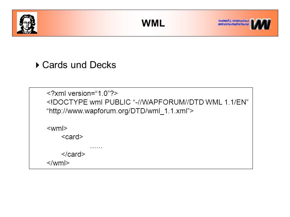 WML  Cards und Decks <!DOCTYPE wml PUBLIC -//WAPFORUM//DTD WML 1.1/EN http://www.wapforum.org/DTD/wml_1.1.xml >......