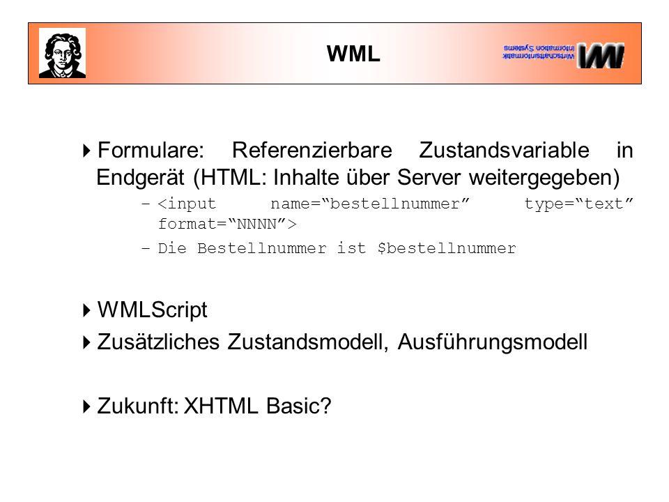 WML  Formulare: Referenzierbare Zustandsvariable in Endgerät (HTML: Inhalte über Server weitergegeben) – –Die Bestellnummer ist $bestellnummer  WMLScript  Zusätzliches Zustandsmodell, Ausführungsmodell  Zukunft: XHTML Basic