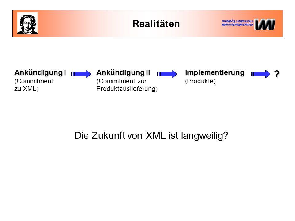 Realitäten Ankündigung I (Commitment zu XML) Ankündigung II (Commitment zur Produktauslieferung)Implementierung (Produkte).