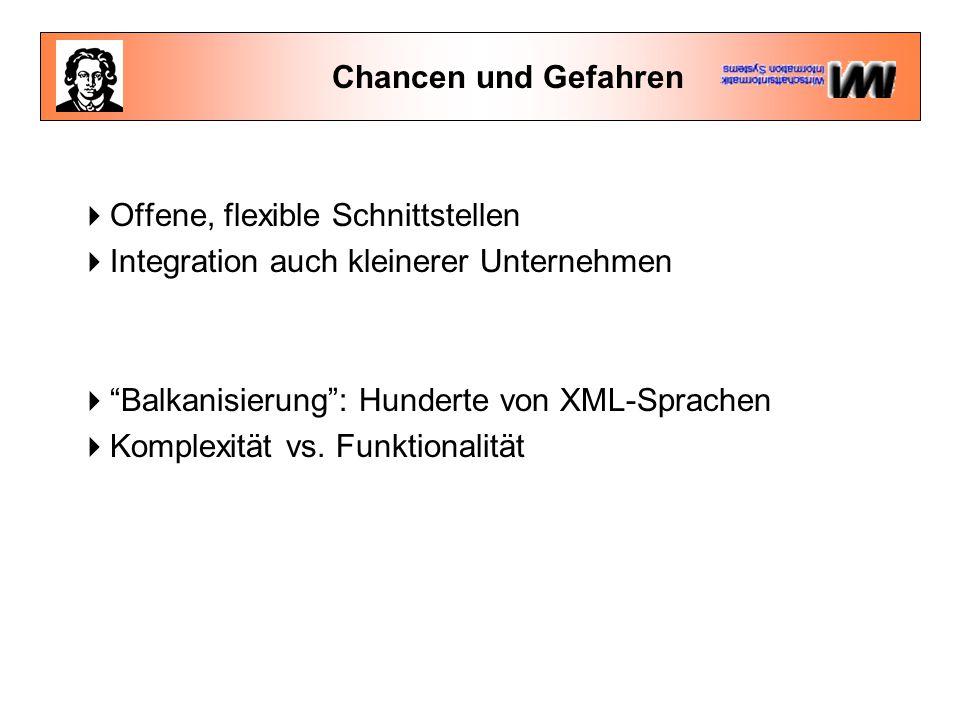Chancen und Gefahren  Offene, flexible Schnittstellen  Integration auch kleinerer Unternehmen  Balkanisierung : Hunderte von XML-Sprachen  Komplexität vs.